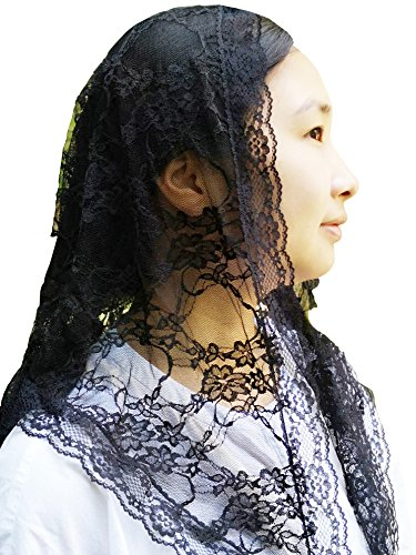 Church Veil Cathdral Veils Lace Mantilla Infinity Veil Y021 (black) by Sevenflowers