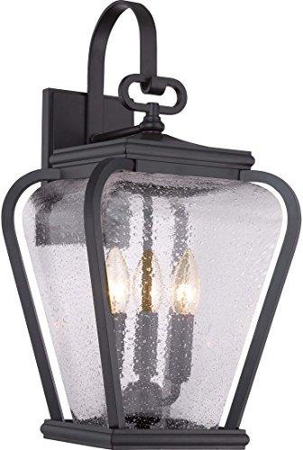 Quoizel PRV8409K  Province 3-Light Outdoor Lantern, Mystic Black - Wall French Quoizel Lighting