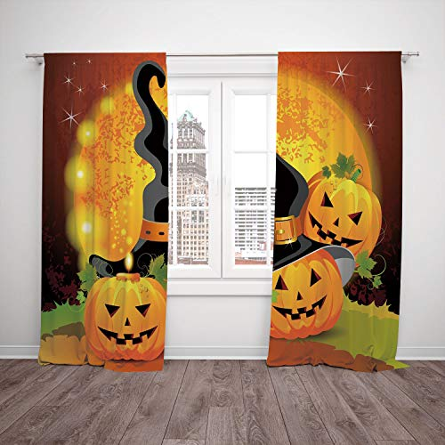 Thermal Insulated Blackout Window Curtain,Halloween,Witches Hat Spooky Pumpkins Magical Night Autumn Nature Full Moon,Light Orange Green Black,Living Room Bedroom Kitchen Cafe Window Drapes 2 Panel Se for $<!--$59.99-->