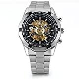 Men's Stainless Steel Skeleton Dial Auto Mechanical Wrist Watch Thanksgiving Christmas Gifts for Him