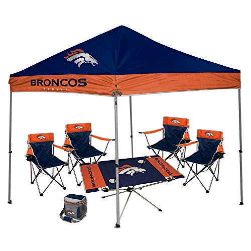 NFL Hall of Fame Tailgate Bundle - Denver Broncos (1 9X9 Canopy, 4 Kickoff Chairs, 1 16 Can Cooler, 1 Endzone Table