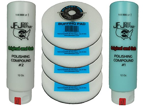 Original JFJ Combo Pack: 4 Easy Pro Buffing Pads, 1 JFJ Polish Compound #1 (Blue), and 1 JFJ Polish Compound #2 (White) by JFJ