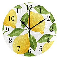 ALAZA Home Decor Yellow Lemon Leaf Round Acrylic 9 Inch Wall Clock Non Ticking Silent Clock Art for Living Room Kitchen Bedroom