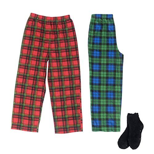 - Mad Dog Boy's 2-Pack Pajama Pants + Slipper Socks (Green Plaid/Red Plaid, L (10/12))