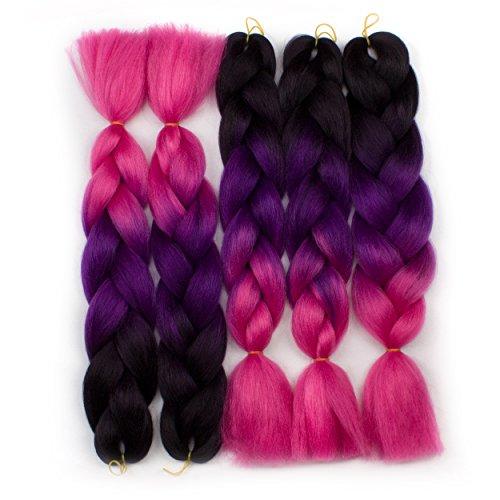 Alica Synthetic Jumbo Braids Ombre Braiding Hair Extension Kanekalon Fiber 3 Tones pack of 5 (24inch, Black-Darkmagenta-Rose Red)