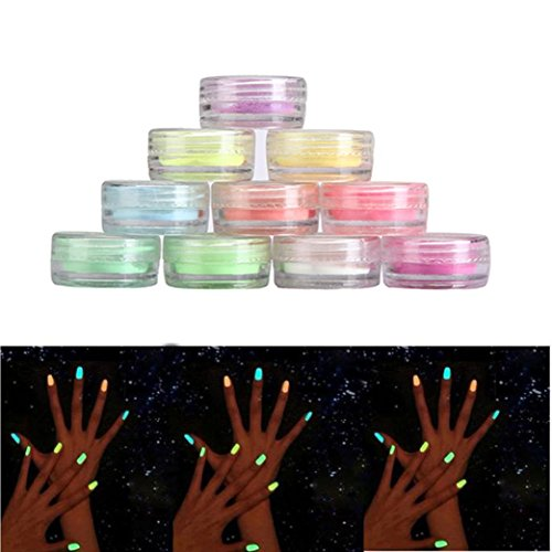 Alonea 10PC/set Nail art Fluorescerende Powder Nail Decoration for Glow in Dark Kit (Multicolor) (Glow In The Dark Makeup Kit)