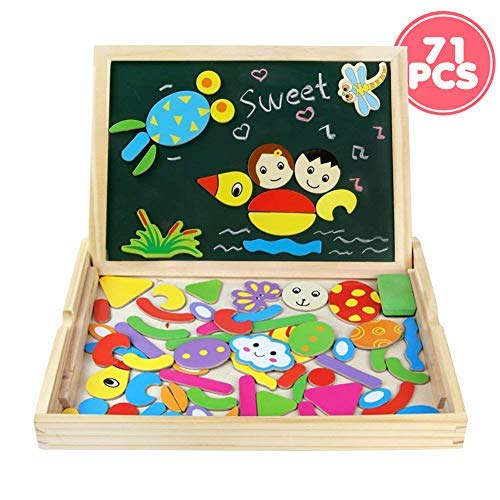 Fajiabao Toddler Easel Educational Toys Wooden Double Side Magnetic Drawing Board Jigsaw Puzzles Montessori Dry Erase Writing Black&Whiteboard Game Gift for Baby Boys Girls ()