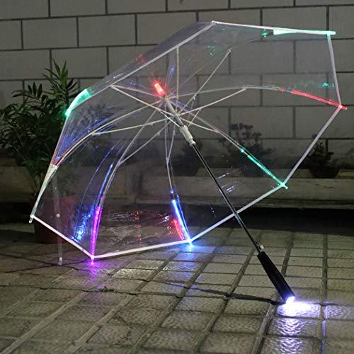 Coxeer LED Umbrella, Clear Umbrella Creative Color Changing Multipurpose Stick Umbrella Clear Umbrella (Umbrella Rain Lights With)