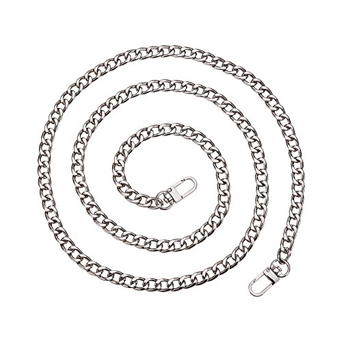 PandaHall Elite 1 Strand 63 Inches DIY Iron Flat Chain Strap Handbag Chains Accessories Purse Straps Shoulder Cross Body Replacement Straps with 2pcs Metal Buckles - Link Strand Chain