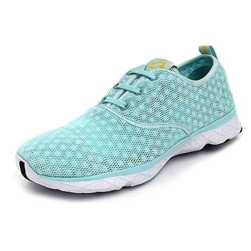 Amoji Water Aqua Shoes Swim Beach Sneaker Athletic Aquatic Sport Slip On Surfing Quick Drying Hiking River Rafting Outdoor Lightweight Ladies Male Adult Female Male Boy Girl Green 11US Women/9.5US Men