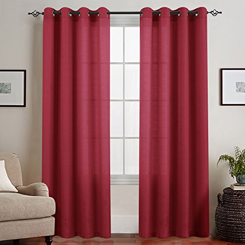 Privacy Semi Sheer Curtains for Bedroom 72 inches Long Casual Weave Linen Textured Window Treatment Set Curtain Panels 2 Panels Sheers 72