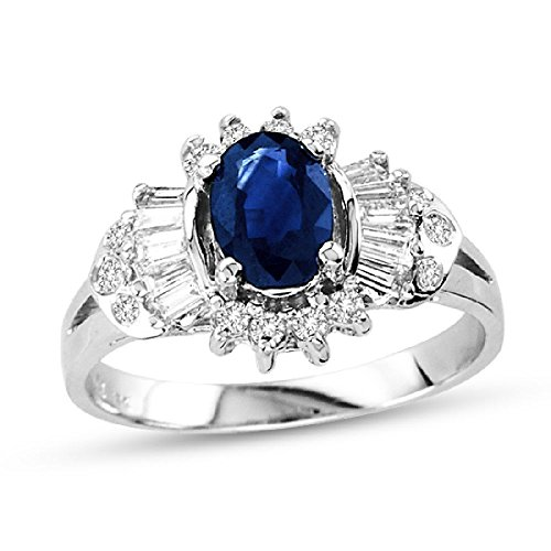1.29 Ct Oval Diamond (Oval Blue Sapphire with Round/Baggette Diamonds Ring set in 14k White Gold 1.29ct TW)