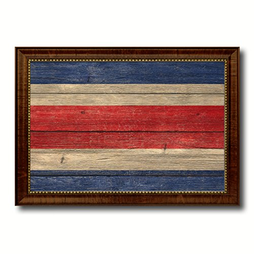 (Costa Rica Country Flag Texture Canvas Print, Brown Gold Picture Frame Home Decor Wall Art Decoration Gifts)