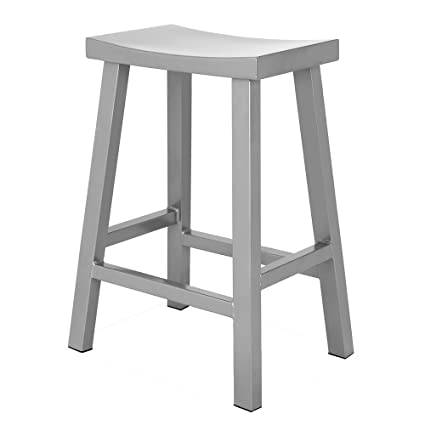 Remarkable Renovoo Steel Saddle Seat Counter Stool Silver Powder Coated Finish 24 Inches Seat Height Indoor And Porch Use Set Of 1 Alphanode Cool Chair Designs And Ideas Alphanodeonline