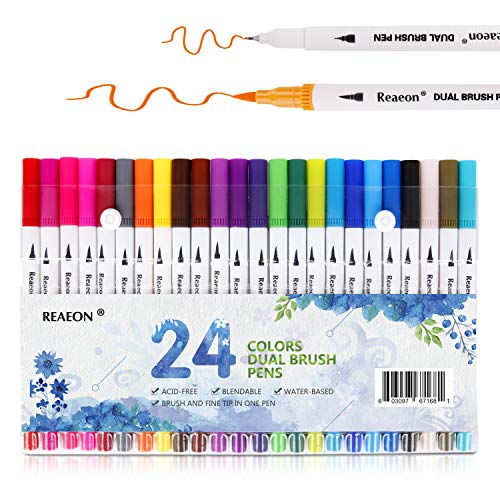 Reaeon Brush Marker Pens Dual Tips, Bullet Journal Fine Point Pen & Calligraphy Markers Set for Adult Coloring Books - 24 Colors Office School and Art Supplies