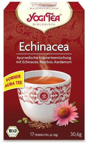 Yogi Tee, Echinacea Tee, vorm. Aura-Tee Ayurvedische Teemischung, Biotee, einmalig in der Ausgewogenheit und beschützenden Kraft seiner Teegewürze, 17 Teebeutel, 30,6g