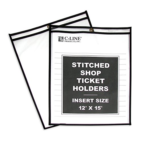 C-Line Stitched Shop Ticket Holders, Both Sides Clear, 12 x 15 Inches, 25 per Box (46125) (Renewed)