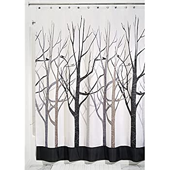 InterDesign Forest Shower Curtain, Gray And Black, 72 X 84 Inch