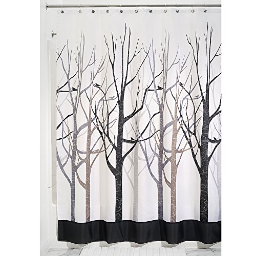 InterDesign Forest Shower Curtain, Gray and Black, 72 x 84-Inch