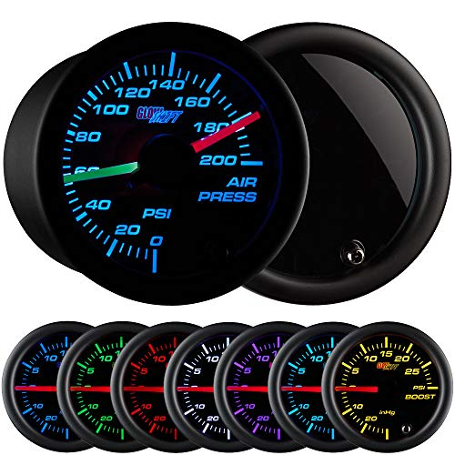 (GlowShift Tinted 7 Color 200 PSI Air Pressure Gauge Kit - Includes 2 Electronic Sensors - Red & Green Analog Needles - Black Dial - Smoked Lens - for Air Ride Suspension Systems - 2-1/16