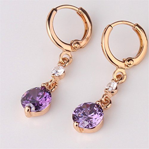 GULICX Jewelry Yellow Gold Tone Created Amethyst Purple Elegant Charm Dangle Earrings