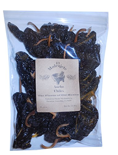 Dried Ancho Mexican Whole Dried Chile- 1 Lb Resealable Bag - El Molcajete Brand for Mexican Recipes, Tamales, Salsa, Chili, Meats, Soups, Stews & BBQ