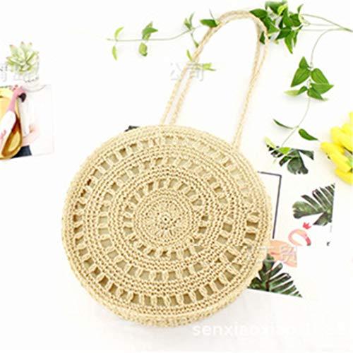 mano Corda beige Borsa vacanza Una tessuto Rattan spiaggia mare carta di casual borsa a fiori di fatta di paglia 7nqRC