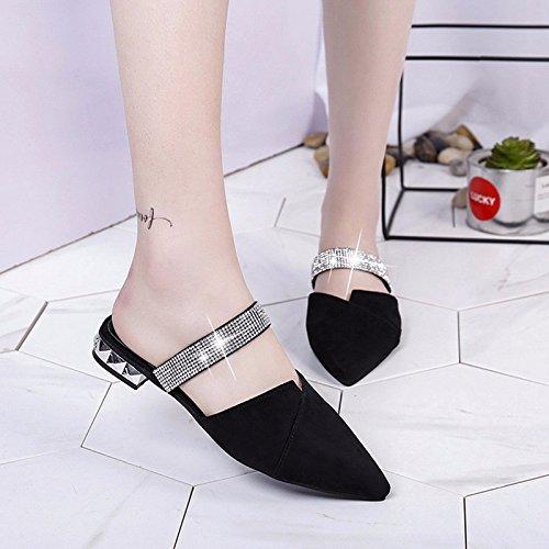 zapatos mitad apartamento mujer verano XIAOGEGE de sandalias nuevo arrastre Negro sandalias y de use una wqqRP05g