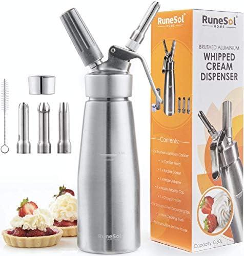 RuneSol® Home Whipper Siphon à crème chantilly professionnel avec 3 douilles en acier inoxydable. Siphons compatible avec les cartouches N20 (non inclus)