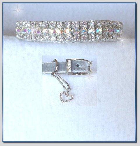 ~Silver Velvet Aurora Sparkle~Rhinestone Dog Cat Pet Collar X-Small #293