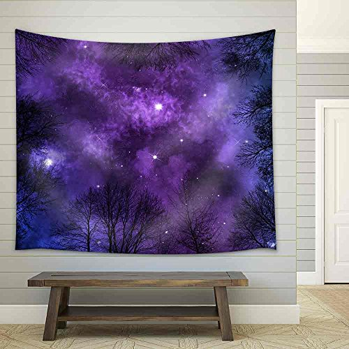 Low Angle View of Colorful Nebula on Starry Night Sky in Forest View Through Trees Background Fabric Wall