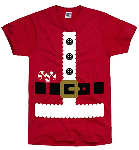 DirtyRagz Men's Santa Claus Shirt Costume Suit T-Shirt S Red -