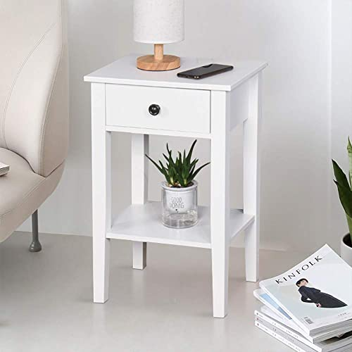 SSLine 25.6″ Tall Bedside Table White Wooden One Drawer Night Stand Chairside End Table W/Shelf Simple Modern Sofa Couch Side Table Telephone Table Accent Furniture