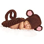 CX-Queen Baby Photography Prop Brown Monkey Handmade Crochet Knitted Costume