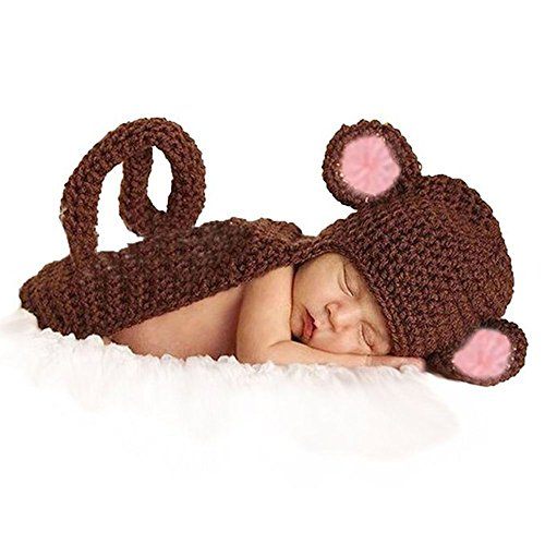 [CX-Queen Baby Photography Prop Brown Monkey Handmade Crochet Knitted Costume] (Varys Halloween Costume)