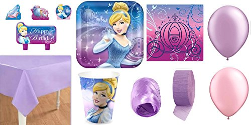Party Supplies for 16 - Table Cover, Cups, Napkins, Plates, Candles, Curling Ribbon, Streamer & Balloons - This Bundle Has 65 Pieces (Cups Invites Plates Napkins)