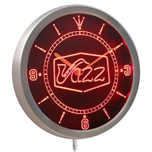 ADVPRO nc0321-b Jazz saxophone Bar Music Live Pub Club Neon Sign LED Wall Clock