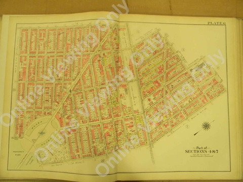 Brooklyn Vintage Map 1908 - Plate 6 - Prospect & Institute Park - Plaza Fountain - Park Slope - 22.5