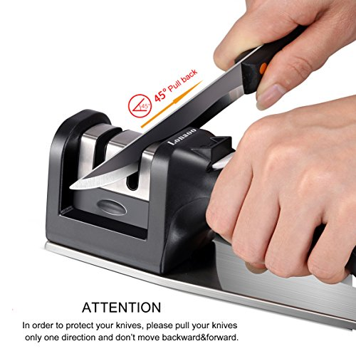 Kitchen Knife Sharpener - Professional 2-Stage Steel Diamond Coated Sharpening Wheel System, Non-slip Steel Base Chef Choice Knife Sharpening Kit, Easy to Use, Safe (Black) by Lonaoo (Image #4)