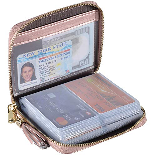 Yuhan Pretty Womens Credit Card Holder Wallet RFID Leather Small ID Card Case (40 Card Slots - Rose Gold)