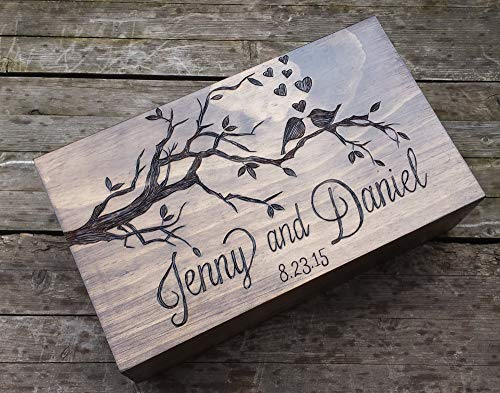 Double wine box, love birds wine box, Personalized and custom wine box, wine box for two bottles