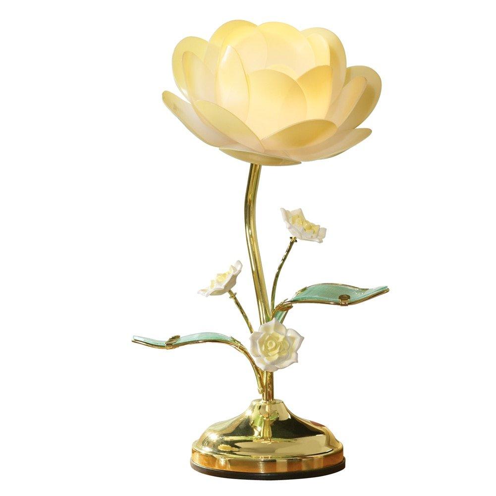 Lotus flower table touch lamp yellow amazon izmirmasajfo Choice Image