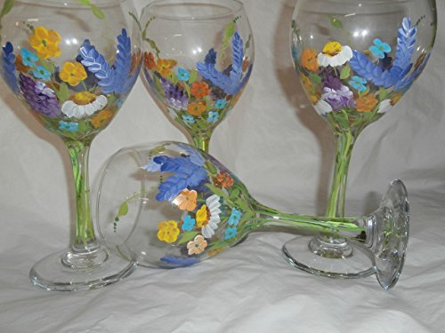 Goblet Painted Hand - Hand painted wild flower 20 ounce goblets, Usa, set/6 20 ounce