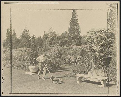 Historic Photos 1917 Photo Gardener pushing lawn mower, posed to illustrate Rudyard Kipling's poem The Glory of the Garden Location: Newport, Rhode Island