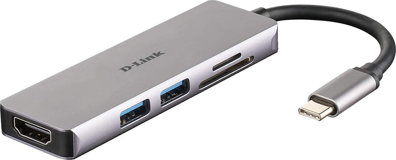8 en 1 1 x USB C de carga//datos hasta 100W 2 puertos USB3//USB2 Hub USB tipo C lector SD y microSD puerto red 1 Gbps adaptador USB C con HDMI 4K y 1080p D-Link DUB-M810