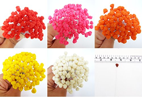100 Assorted Cray Stamen Pollen Flower Craft Artificial Scrapbook Floral Round Wire Stem Card, Green Brown Orange Pink Yellow Color, Long Size with wire 10 (Stamen Assortment)
