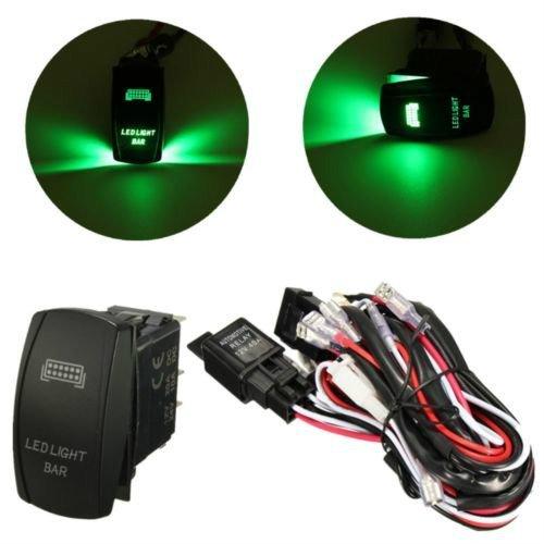 Set de 12/V 40/A 300/W Kit de cableado con fusible de rel/é Cableado Arn/és luz LED Bar Rocker Interruptor Verde