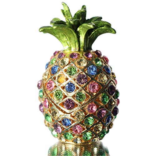 (Waltz&F Pineapple Hinged Trinket Box for Gifts Hand-Painted Patterns Trinket Bejeweled Box Collectible)