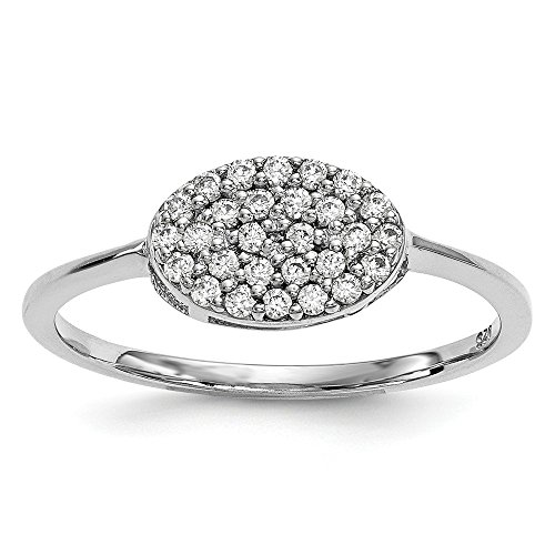 14k White Gold Diamond Cluster Oval Band Ring Size 7.00 Fine Jewelry Gifts For Women For Her