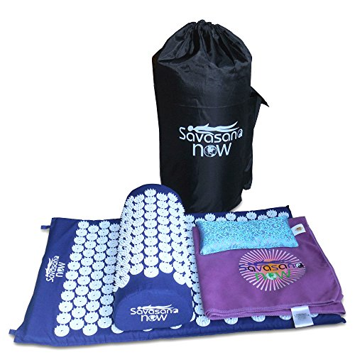 ACUPRESSURE TOOLS SET: Acupressure Mat & Pillow, Eye Pillow, Towel, Carry Bag. Relieve back pain, neck pain. Stimulate trigger points, headache reliever, sleep aid & stress management/meditation tool